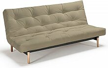 Futonsofa Vidar - Sofa mit Futon Schlafsofa für 2, viele Farben, Futon wählbar, Versteppung Metallknopf, Futonfarbe:Leinen, Futonauflage:Futon Daburu Latex
