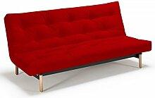 Futonsofa Vidar - Sofa mit Futon Schlafsofa für 2, viele Farben, Futon wählbar, Versteppung Metallknopf, Futonfarbe:Rot, Futonauflage:Futon Komaki Latex