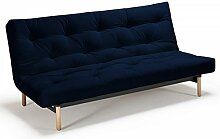 Futonsofa Vidar - Sofa mit Futon Schlafsofa für 2, viele Farben, Futon wählbar, Versteppung Metallknopf, Futonfarbe:Marineblau, Futonauflage:Futon Nagaoka Latex