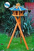Futterhaus,BTV Vogelhäuser wetterfest, mit Silo/Futtersilo für Winterfütterung,Gartendeko aus Holz BLAU mit Ständer blaue BR60blMS, Futterhaus