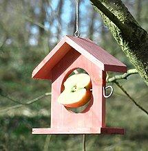 Futterstelle für Vögel aus Holz, Rot, Höhe 20cm