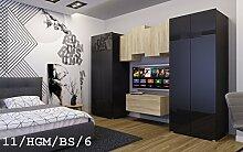 FUTURE 11 Moderne Wohnwand Anbauwand Wand Schrank Zimmer TV-Schrank Möbel Neu Exklusiv Hochglanz Matt Weiß Schwarz Sonoma LED RGB Beleuchtung (11/HGM/BS/6, LED weiß)