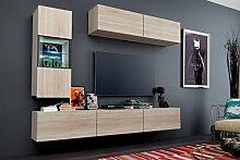 FUTURE 12 Wohnwand Anbauwand Möbel Set Wohnzimmer Schrank Wohnzimmerschrank Matt Sonoma LED RGB Beleuchtung (Front: Sonoma / Korpus: Sonoma, LED blau)