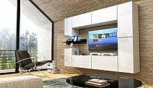 FUTURE 13 Wohnwand Anbauwand Möbel Set Wohnzimmer Schrank Wohnzimmerschrank Hochglanz Weiß Schwarz LED RGB Beleuchtung (Front: Hochglanz Weiß / Korpus: Matt Weiß, LED weiß)
