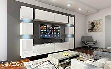 FUTURE 14 Wohnwand Anbauwand Wand Schrank Möbel TV-Schrank Wohnzimmer Wohnzimmerschrank Hochglanz Weiß Schwarz LED RGB Beleuchtung (14/HG/W/8, LED blau)