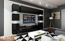 FUTURE 14 Wohnwand Anbauwand Wand Schrank Möbel TV-Schrank Wohnzimmer Wohnzimmerschrank Hochglanz Weiß Schwarz LED RGB Beleuchtung (14/HG/B/1, LED blau)