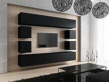 FUTURE 17 Moderne Wohnwand, Exklusive Mediamöbel, TV-Schrank, Neue Garnitur, Große Farbauswahl (Schwarz MAT base / Schwarz MAT front)
