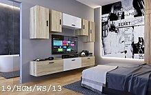 FUTURE 19 Wohnwand Anbauwand Wand Schrank Zimmer Möbel TV-Schrank Mediamöbel Hochglanz Matt Weiß Schwarz Sonoma LED RGB Beleuchtung (19/HGM/WS/13, LED weiß)