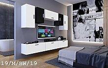 FUTURE 19 Wohnwand Anbauwand Wand Schrank Zimmer Wohnzimmerschrank TV-Schrank Matt Schwarz Weiß Sonoma LED RGB Beleuchtung (19/M/BW/19, Möbel)