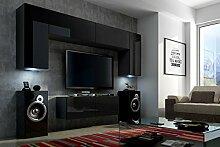 FUTURE 2 Wohnwand Wohnzimmer Möbelset Anbauwand Schrankwand Möbel Set LED RGB Beleuchtung Hochglanz Schwarz Weiß (Front: Hochglanz Schwarz / Korpus: Matt Schwarz, LED weiß)