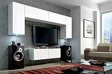 FUTURE 2 Zeitnah Wohnwand Wohnzimmer Möbelset, Anbauwand Schrankwand Möbel Set, Exklusive Unterhaltungseinheit Mit Regalen, Neue Suite, TV-Ständer / Schrank / Regal, Drücken Sie auf Öffnen / Standardgriff Wandschränke, Matte / Hochglanz, Schwarz / Weiß / Mehr Farben, Gratisversand (RGB LED Beleuchtung Vorhanden) (Schwarz MAT base / Schwarz HG front, Möbel) (Weiß MAT base / Weiß MAT front, Blau LED)