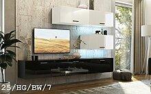 FUTURE 25 Wohnwand Anbauwand TV-Schrank Möbel Wohnzimmer Wohnzimmerschrank Hochglanz Weiß Schwarz LED RGB Beleuchtung (25/HG/BW/7, RGB)