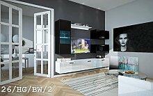 FUTURE 26 Wohnwand Anbauwand Wand Schrank Wohnzimmer Wohnzimmerschrank Möbel TV-Schrank Hochglanz Weiß Schwarz LED RGB Beleuchtung (26/HG/BW/2, LED rot)