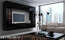 FUTURE 28 Moderne Wohnwand, Exklusive Mediamöbel, TV-Schrank, Schrankwand, TV-Element Anbauwand, Neue Garnitur, Große Farbauswahl (RGB LED-Beleuchtung Verfügbar) (28_HG_B_1, Möbel)