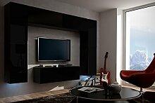 FUTURE 3 Wohnwand Wohnzimmer Möbelset Anbauwand Schrankwand Möbel Set Gratisverand Matt Schwarz Weiß LED RGB Beleuchtung (Front: Matt Schwarz / Korpus: Matt Schwarz, RGB)