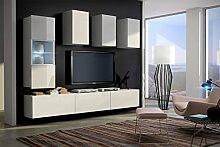 FUTURE 4 Zeitnah Wohnwand Wohnzimmer Möbelset, Anbauwand Schrankwand Möbel Set, Exklusive Unterhaltungseinheit Mit Regalen, Neue Suite, TV-Ständer / Schrank / Regal, Drücken Sie auf Öffnen / Standardgriff Wandschränke, Matte / Hochglanz, Schwarz / Weiß / Mehr Farben, Gratisversand (RGB LED Beleuchtung Vorhanden) (Weiß MAT base / Weiß MAT front, Blau LED)