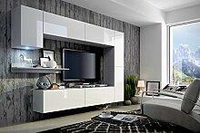 FUTURE 6 Moderne Wohnwand, Exklusive Mediamöbel, TV-Schrank, Neue Garnitur, Große Farbauswahl (RGB LED-Beleuchtung Verfügbar) (Weiß MAT base / Weiß HG front, Möbel)