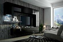 FUTURE 6 Moderne Wohnwand, Exklusive Mediamöbel, TV-Schrank, Neue Garnitur, Große Farbauswahl (RGB LED-Beleuchtung Verfügbar) (Schwarz MAT base / Schwarz HG front, Möbel)