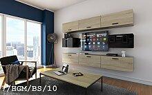 FUTURE 7 Wohnwand Anbauwand Wand Schrank TV-Schrank Möbel Wohnzimmer Wohnzimmerschrank Hochglanz Mat Weiß Schwarz Sonoma LED RGB Beleuchtung (7/HGM/BS/10, RGB)