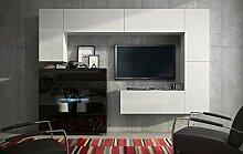 FUTURE 8 Wohnwand Anbauwand Moderne Wohnwand Wandschrank Hochglanz Weiß Schwarz Wohnzimmer Möbel Wohnzimmerschrank TV-Ständer LED RGB Beleuchtung (Front: Hochglanz Weiß / Korpus: Matt Weiß, LED rot)