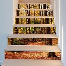 "fuuoll TOOFA 3D-Herbst Forest Treppe Aufkleber DIY Ahornblatt Wandaufkleber wasserdicht selbstklebende abnehmbare Dekoration Aufkleber Papier 39.3""x7"" x6PCS"