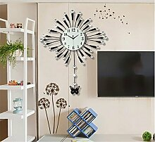 FUXINGXING Continental Wohnzimmer Uhren, Stummschaltung Große Quarzuhr, Kreative Moderne, Minimalistische Wanduhr