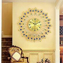 FUXINGXING Kreative europäische Wanduhr Wohnzimmer Schlafzimmer einfache Peacock stumm, 67 * 67 cm, B