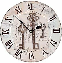 FUXINGXING Retro Style Wanduhr Home Holzkiste, Uhren, 35 * 35 Cm Keine