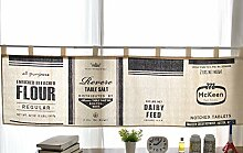 Fuya Kurze Küchengardine, Schiebevorhang, modernes Design, minimalistischer Stil, Schwarz/ Weiß B