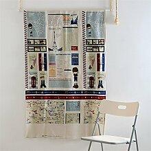 Fuya Modern Cartoon Mediterraner Stil Küche Scheibengardine Küche Vorhang CAFE kurz Schiebevorhang