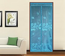Fuya Neue Magnetische Fliegenschutztür magie schiere tür vorhang Mosquito Net Insektenschutz Mosquito Vorhang Spring Artikel Jacquard Blumen, Durchsichtig, blau, 90cm(W)X210cm(L)/35.43X82.68inches