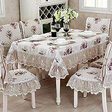 fwerq Im europäischen Stil nähen Tabelle mat Tischdecke Tischdecke Runden Tisch Tuch-E 120 x 170 cm (47 x 67 Zoll)