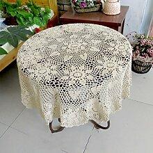 fwerq Runde Tischdecke Tischdecke Handarbeit häkeln Blume kleiner Couchtisch Continental Vintage Baumwolle Tuch (Farbe: Beige, Größe: Rund 60 cm)