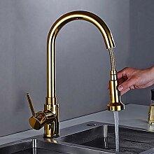 FWZZQ Ausziehbar Küchenarmatur Gold Wasserhahn