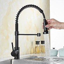 FWZZQ Ausziehbar Küchenarmatur Schwarz Wasserhahn