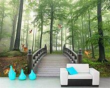 FYBSNDY 3D Tapete Baumbrückenrotwildhintergrund
