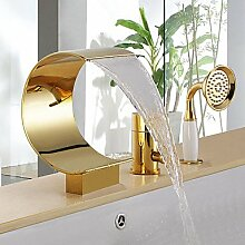 FYios BadewannenarmatureTapsAntique drei Bohrungen einzigen Griff Wasserfall Badewanne Armatur mit Handbrause