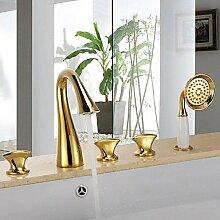 FYios BadewannenarmatureTapsAntique fünf Bohrungen drei Griffe Wasserfall Badewanne Armatur mit Handbrause