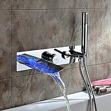 FYios BadewannenarmatureTapsChrome Farbe ändern Wandhalterung Whirlpool Armatur mit Handbrause