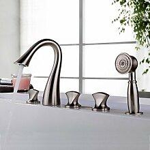 FYios BadewannenarmatureTapsContemporary Design Nickel gebürstet Drei Griffe fünf Bohrungen Badezimmer Badewanne Armatur Wasserhahn mit abnehmbarem Duschkopf.
