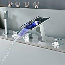 FYios BadewannenarmatureTapsContemporary Messing verchromt Personalisierte drei Griffe fünf Bohrungen LED Badewanne Armatur - Silber