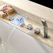 FYios BadewannenarmatureTapsContemporary römischen Whirlpool LED/Wasserfall/Handdusche enthalten withCeramic Ventil zwei Griffen fünf Bohrungen forChrome, Badewanne Armatur
