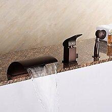 FYios BadewannenarmatureTapsEuropean Stil Whirlpool Wasserfall/Handdusche mit Keramik Ventil 1-Griff 3-Löcher für ORB, Badewanne Armatur enthalten
