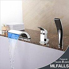 FYios BadewannenarmatureTapsModern Style LED verbreitete Wasserfall Handdusche withCeramic Ventil einzigen Griff Chrom Badezimmer Badewanne Armatur Set enthalten