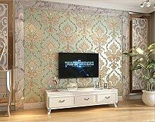 Fyios Europäischen Tapeten Vlies Schlafzimmer Tapete 3D-Luxuriöse Damaskus Wohnzimmer Tv Hintergrund Wand Tapeten, Grün
