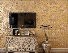 Fyios Europäischen Tapeten Vlies Schlafzimmer Tapete 3D-Luxuriöse Damaskus Wohnzimmer Tv Hintergrund Wand Tapeten, Licht Gold