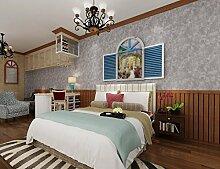 Fyios Mediterranean Blue Wallpaper Wallpaper Tuch Dorf Retro Farbe Ebene Schlafzimmer Mit Tapeten, Grau Weiß