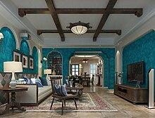 Fyios Mediterranean Blue Wallpaper Wallpaper Tuch Dorf Retro Farbe Ebene Schlafzimmer Mit Tapeten, Retro Blau