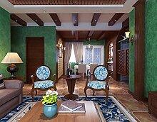 Fyios Mediterranean Blue Wallpaper Wallpaper Tuch Dorf Retro Farbe Ebene Schlafzimmer Mit Tapeten, Vintage Green