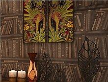 Fyios Moderne Chinesische Tapete Retro Bücherregal Wasserdicht Wallpaper Schlafzimmer Wohnzimmer Wohnzimmer Tv Hintergrund Mauer, Khaki